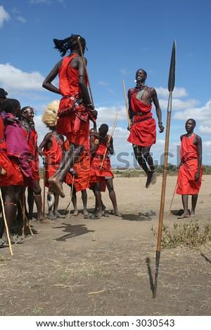 Masai warriors during ceremony - stock photo