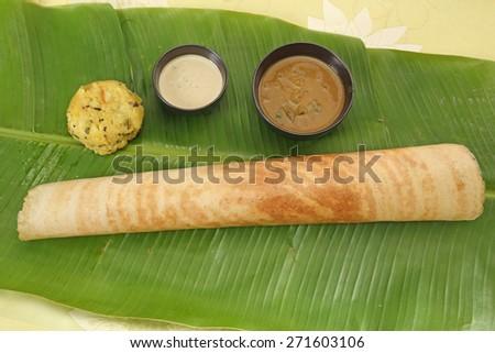 Masala Dosa with Chutney and Sambaar, South Indian Dish - stock photo