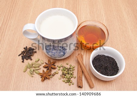 Masala Tea and spices - stock photo