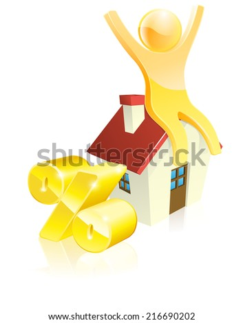 Mascot house percent concept of man sitting on house with arms up and gold percentage sign. Could be concept for many financial topics relating to mortgages or real estate - stock photo
