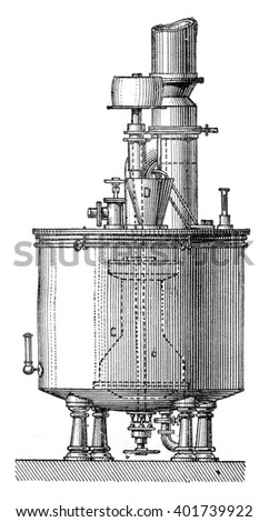 Mash tun pump, vintage engraved illustration. Industrial encyclopedia E.-O. Lami - 1875.