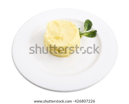 Mashed potatoes with corn salad.  Isolated on a white background. - stock photo
