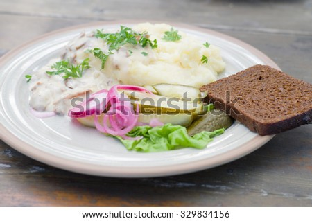 Mashed potatoes with creamy mushroom sauce, pickled cucumber, red onion and slice of bread. Image with selective focus - stock photo