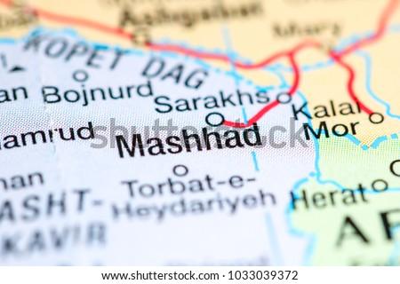 Mashhad Iran On Map Stock Photo 1033039372 Shutterstock