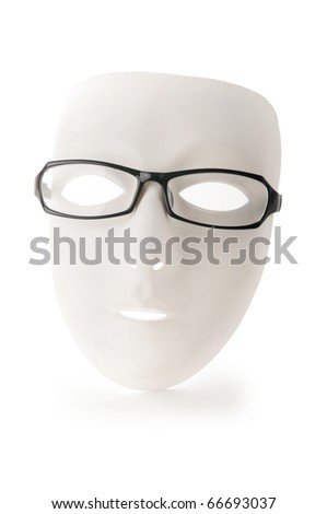 Mask and reading glasses isolated on white - stock photo
