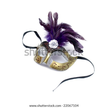 Mask from feathers on a white background - stock photo