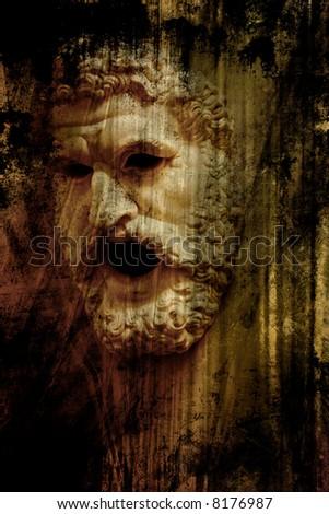mask of the Zeus. Ancient greek art - stock photo