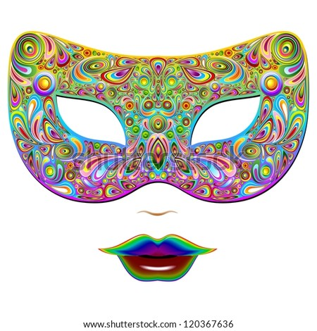 Mask Psychedelic Carnival Party - stock photo