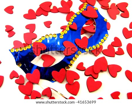 Mask with hearts - stock photo