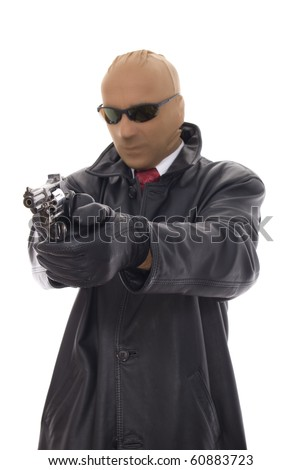 masked bandit in leather jacket with gun