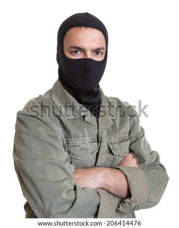 Masked burglar looking at camera - stock photo