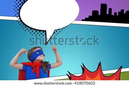 Masked girl pretending to be superhero against speech bubble - stock photo