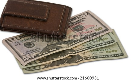 Masked image of a brown wallet on top of some cash