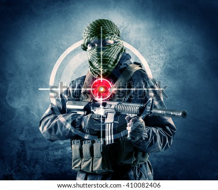 Masked terrorist man with gun and laser target on his body concept  - stock photo