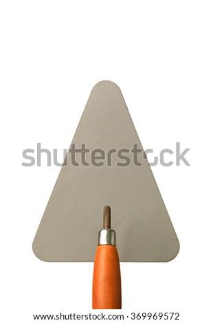 Mason spatula on white background - stock photo