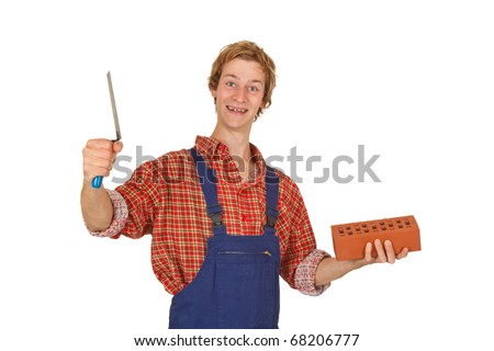 Mason with brick and trowel isolated on white background - stock photo