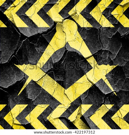 Masonic freemasonry symbol, black and yellow rough hazard stripe