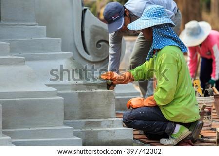 Masonry, plastering, construction. - stock photo