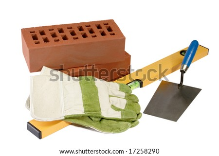 Masons equipment with bricks and sand - isolated on white background - stock photo