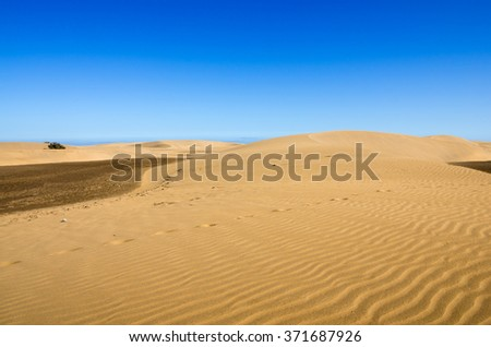 Maspalomas Dunes on the coast of Atlantic ocean on Gran Canaria, Canary islands, Spain
