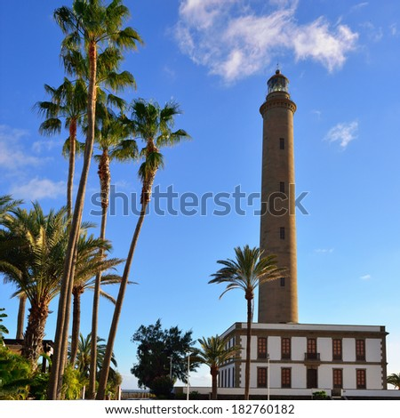 Maspalomas Lighthouse shown at sunset, Gran Canaria, Canary Islands.This highest lighthouse on the island is a landmark in this important winter tourist destination