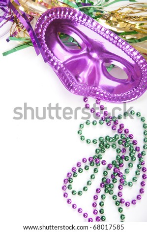 Masquarade party supplies with copyspace - stock photo