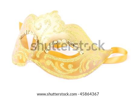 masquerade female gold mask isolated on a white background - stock photo