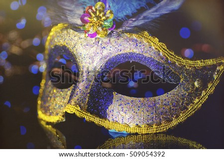 Masquerade venitian carnival mask, female theatrical feathers