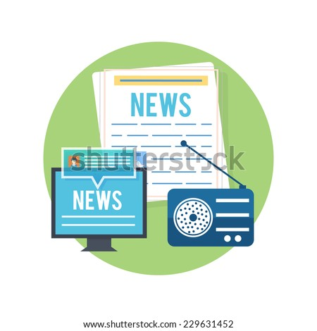 Mass media journalism news concept flat business icons of newspaper paparazzi profession live radio for infographics design web elements. Raster version
