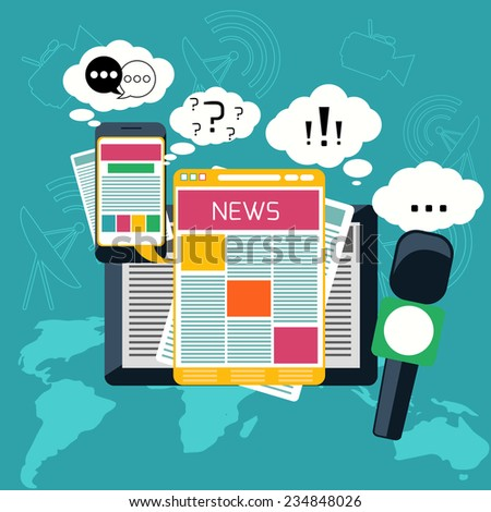 Mass media journalism news concept flat business icons of newspaper paparazzi profession live radio for infographics design web elements. Raster version - stock photo