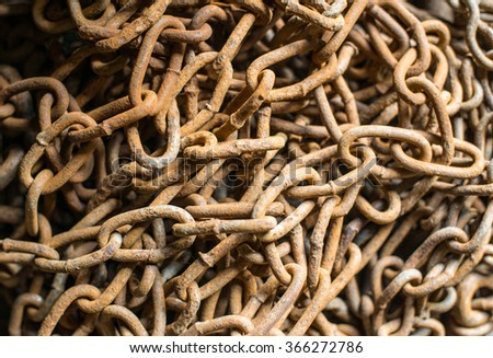 Mass of the old rusty chains. Close up. - stock photo