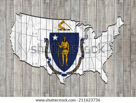 Massachusetts flag with America map and wood background - stock photo