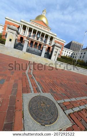 Massachusetts State House, Boston Beacon Hill, Massachusetts, USA - stock photo