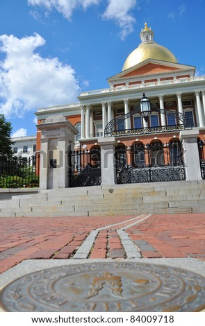 Massachusetts State House on freedom trail, Boston Beacon Hill, Massachusetts, USA. - stock photo