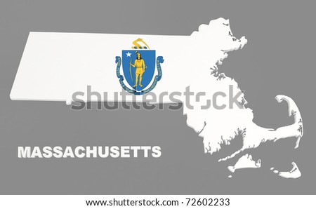 Massachusetts state, map with flag, isolated on grey, with clipping path, 3d illustration - stock photo