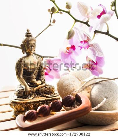 massage and ayurveda still-life - stock photo
