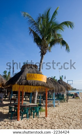 Massage hut on the beach. Playa del Carmen