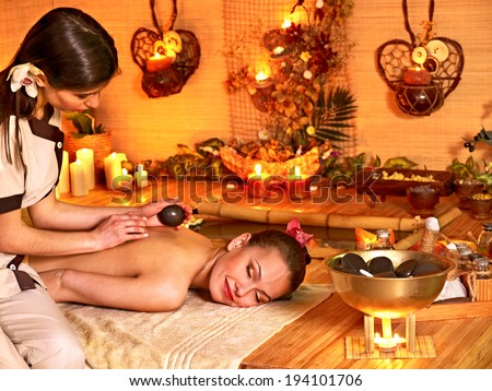 Massage in  beauty spa. Still life in the foreground. - stock photo