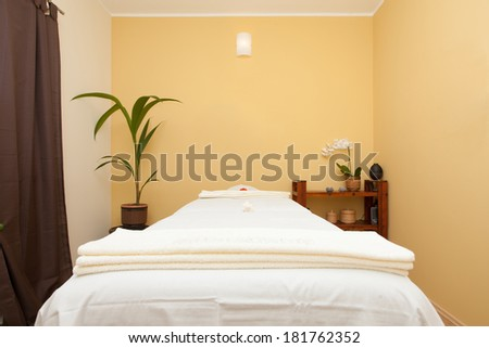 massage room in spa saloon - stock photo