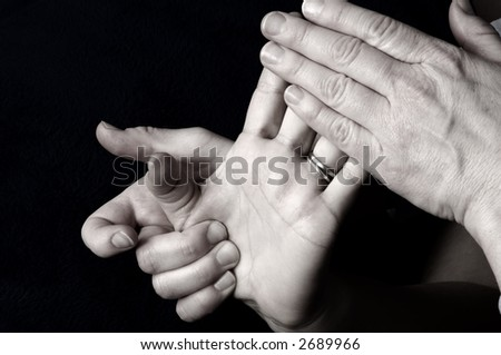 Massaging Hand Palm and Fingers - stock photo