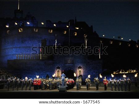Massed Bands at Edinburgh Military Tattoo - stock photo