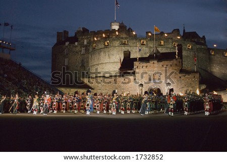 Massed Pipes and Drums at 2006 Edinburgh Military Tattoo - stock photo