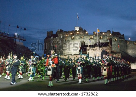 Massed Pipes and Drums at the 2006 Edinburgh Military tattoo - stock photo