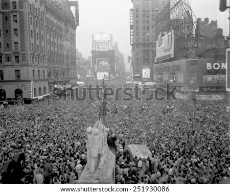 Massive crowd gathers in Times Square to celebrate the surrender of Japan, August 15, 1945. World War 2. - stock photo