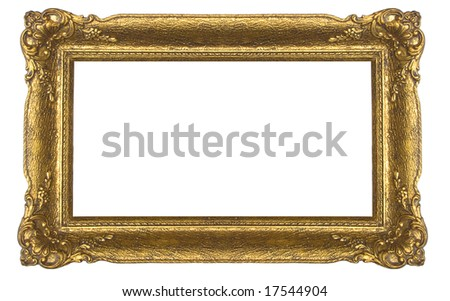 Massive golden old frame - stock photo