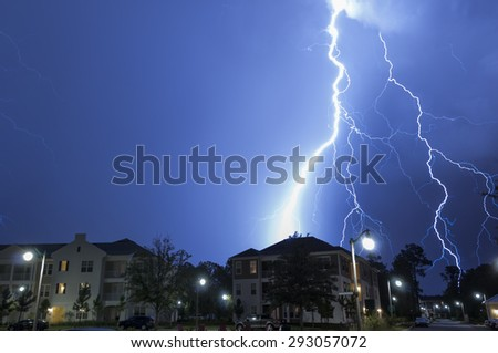 Massive lightning strike in a neighborhood - stock photo