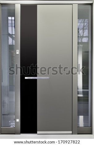 Massive Metallic Entry Front Door - stock photo