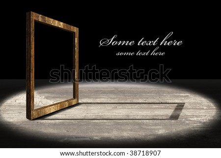 massive old stylistic frame on the wooden stage-text easy to remove - stock photo