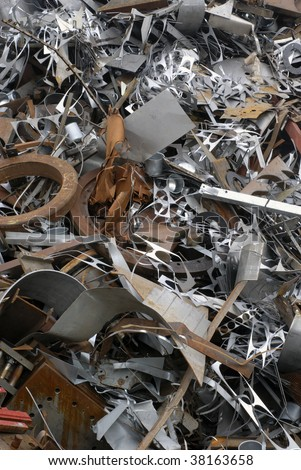 Massive pile of scrap metal for recycling purposes. - stock photo