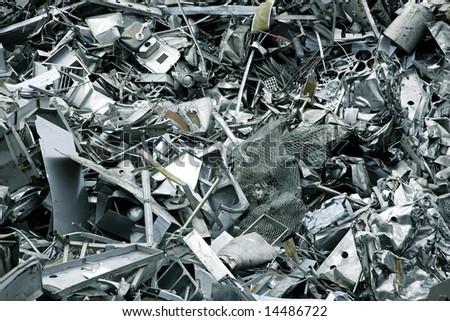 Massive pile of scrap metal - large XXL file - stock photo